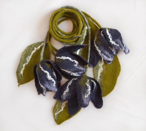 felted Flowers wearable scarf accessory