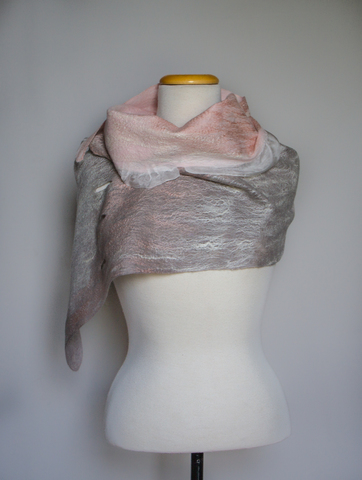 pink gray wearable felted scarf