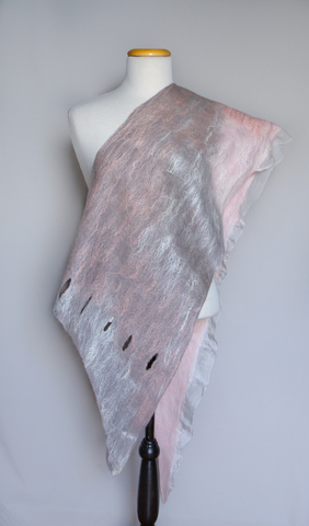 pink gray wearable nuno felted scarf