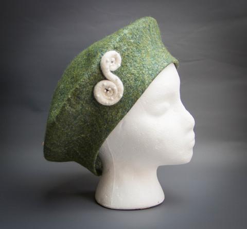 Felted Stylish green beret
