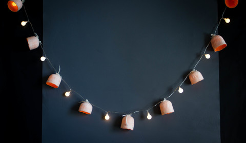 Wet Felted Garland lampshades lights Halloween