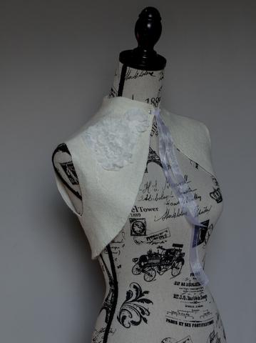wearable art felted ivory wedding Bolero shrug