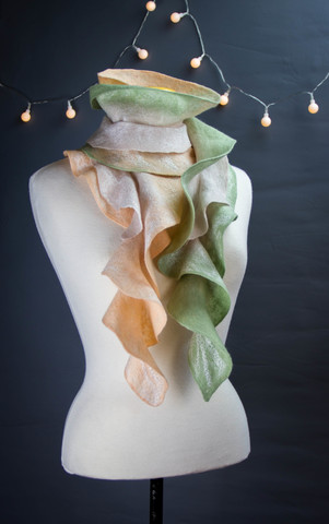 elegant and stylish yellow green Ruffled Felted Scarf
