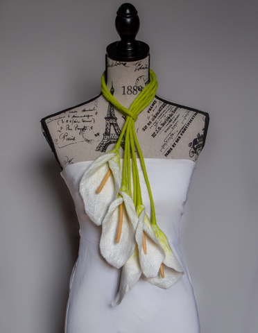 felted Flowers Calla Lily scarf multi-seasonal