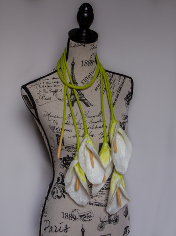 Calla Lily Flowers scarf unique wearable art