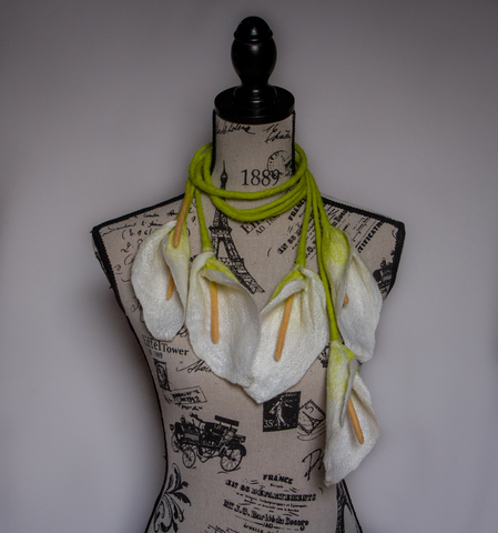 hand felted Calla Lily Flowers scarf