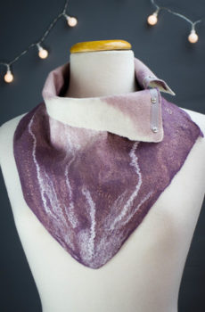 Wet felted scarf-snood