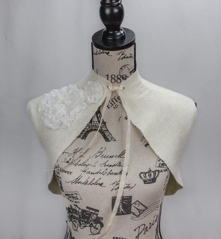 felted ivory wedding Bolero with silk roses wearable art