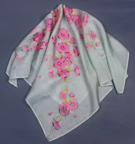 hand painted batik Silk Scarf cherry blossom