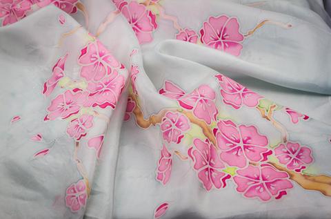 hand painted batik Floral Silk Scarf