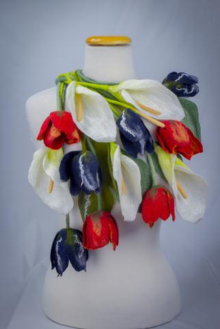 Felted flower scarf