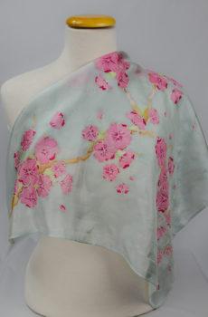 hand painted batik Floral Silk Scarf cherry blossom