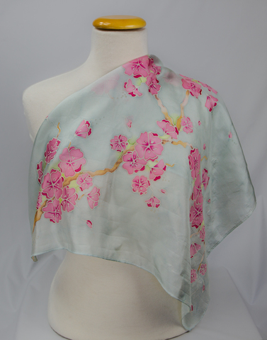 hand painted batik Floral Silk Scarf cherry blossom