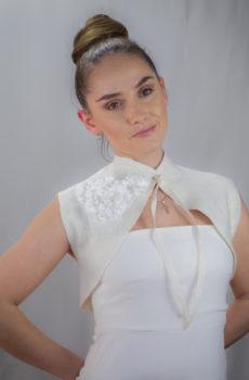 hand felted ivory wedding Bolero wearable art