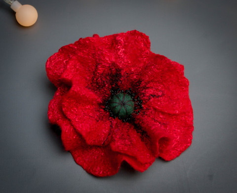wet felted Red poppy pin