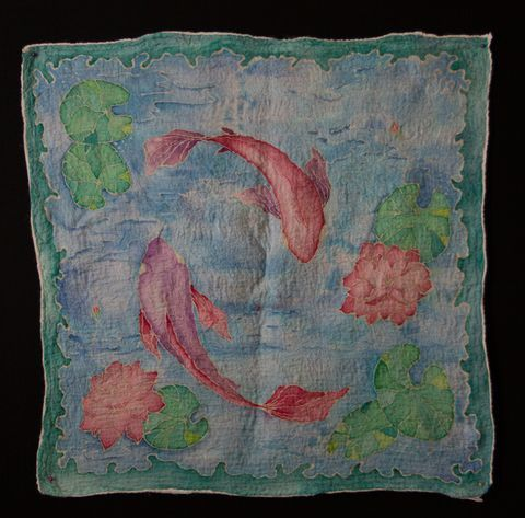 Two fishes silk fabric