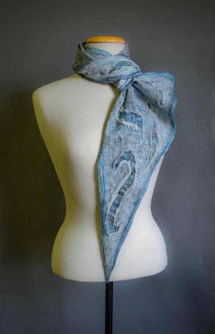 Nuno felted boho scarf