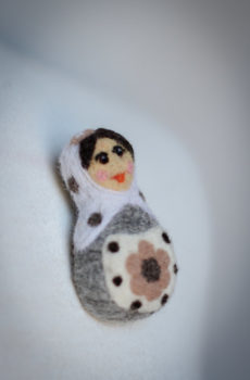 Felted brooch matryoshka