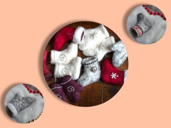 Hand felted Mini mittens