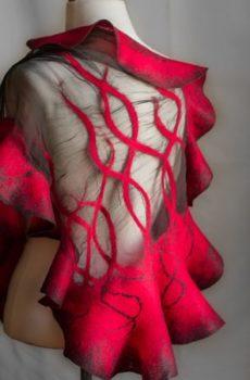 Nuno felted batik scarf