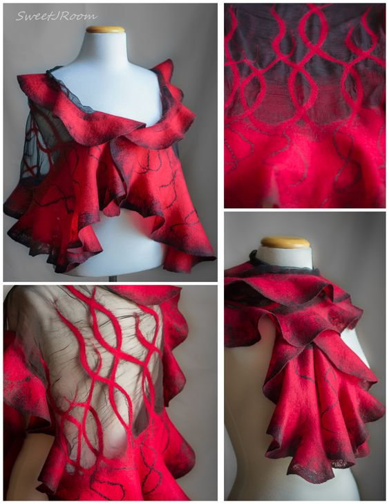 batik felted scarf with snowflakes