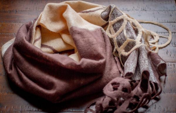 Felted Beige shawl