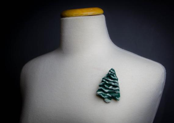 needle felted tree pin