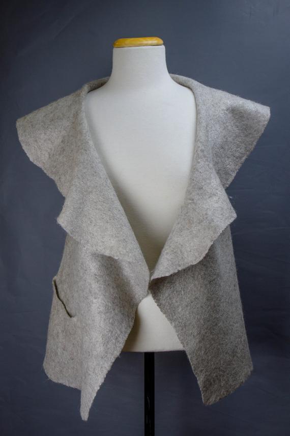 grey felted vest with pocket