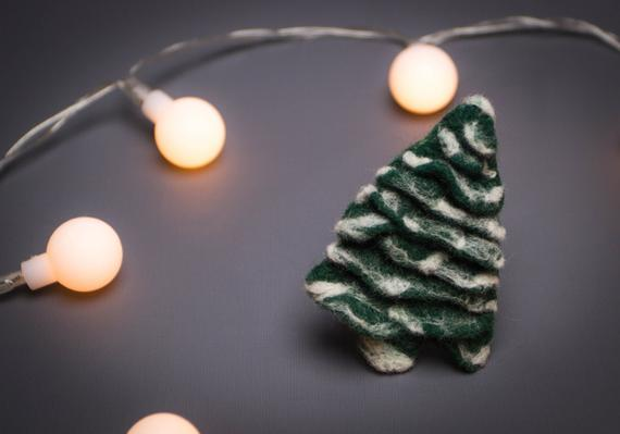felted tree pin