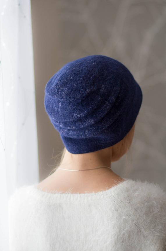 felted dark blue slouchy hat