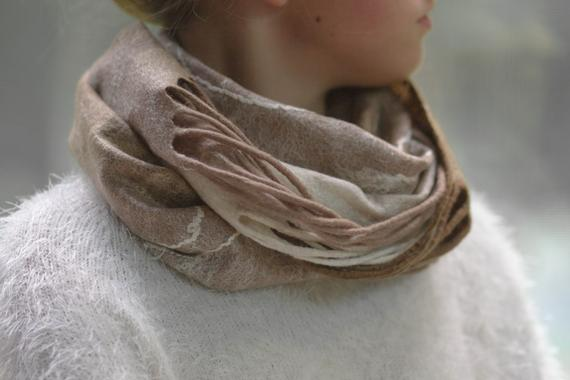felted snood with tassels