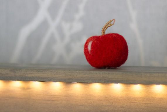 felted red apple