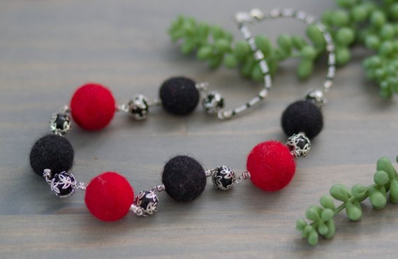 Black Red Felted Necklace