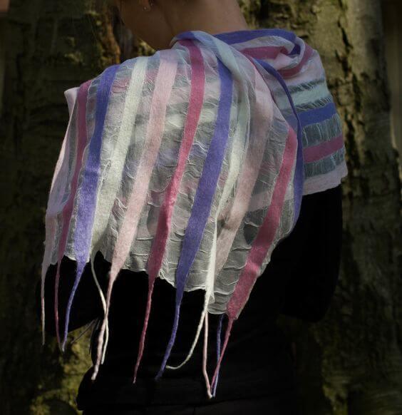 Nuno felted silk shawl