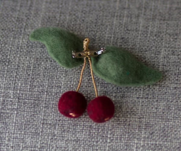 wool cherries pin