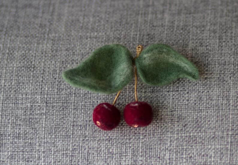Set wool felted earrings and brooch Red cherries on green leaves Art to wear Mother/'s day gift Felt art Felt fashion Unique gift Jewelry set